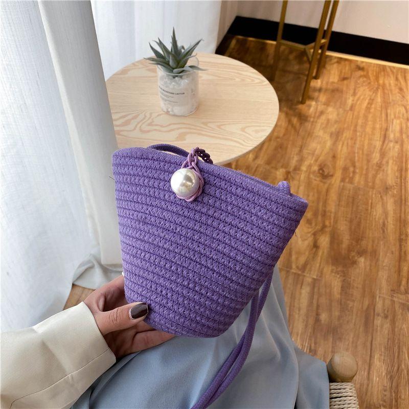 Соломенная сумка 2020 женская мини мини мини новое все-матч сплетенное ведро одно-плечо женское мешок с крестообразным телом летняя мода vjukb