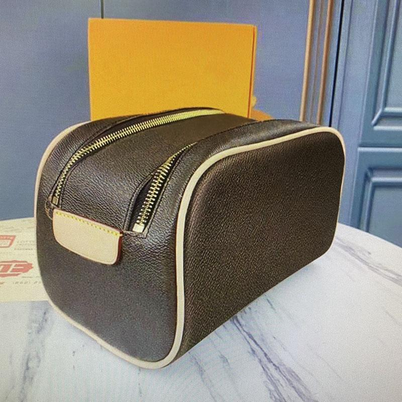 M47527 Cosmetic Bag old flower Classic Plaid Women Leather Zipper Makeup Bags Fashion Clutch Bag Cases Make Up Pouch