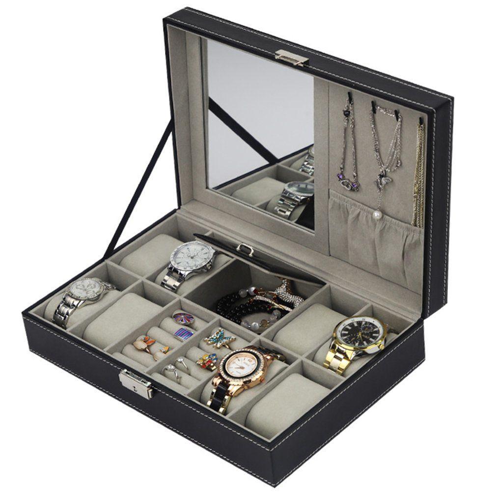 Кожа PU Часы Box Jewelry Case Многофункциональный ящик для хранения Организатора для серьги организатора шкатулки Порта Релоха Kist 2019 CX200807