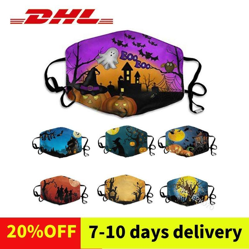 Halloween washable face mask cloth resuable personalized pattern dust-proof cotton mask printed mask DHL free shipping