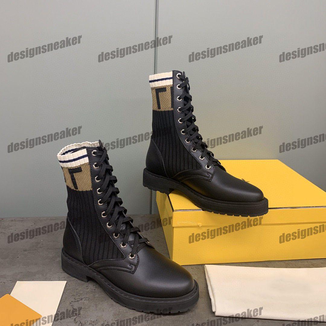 Clássico Womens Knit Meados do Meio-Top Botas Casuais Sapatos Sneaker Roma Senhoras Ladies Plataforma Vestido Passeio Trainer Lace-Up Botas Botas Sneakers Chaussures
