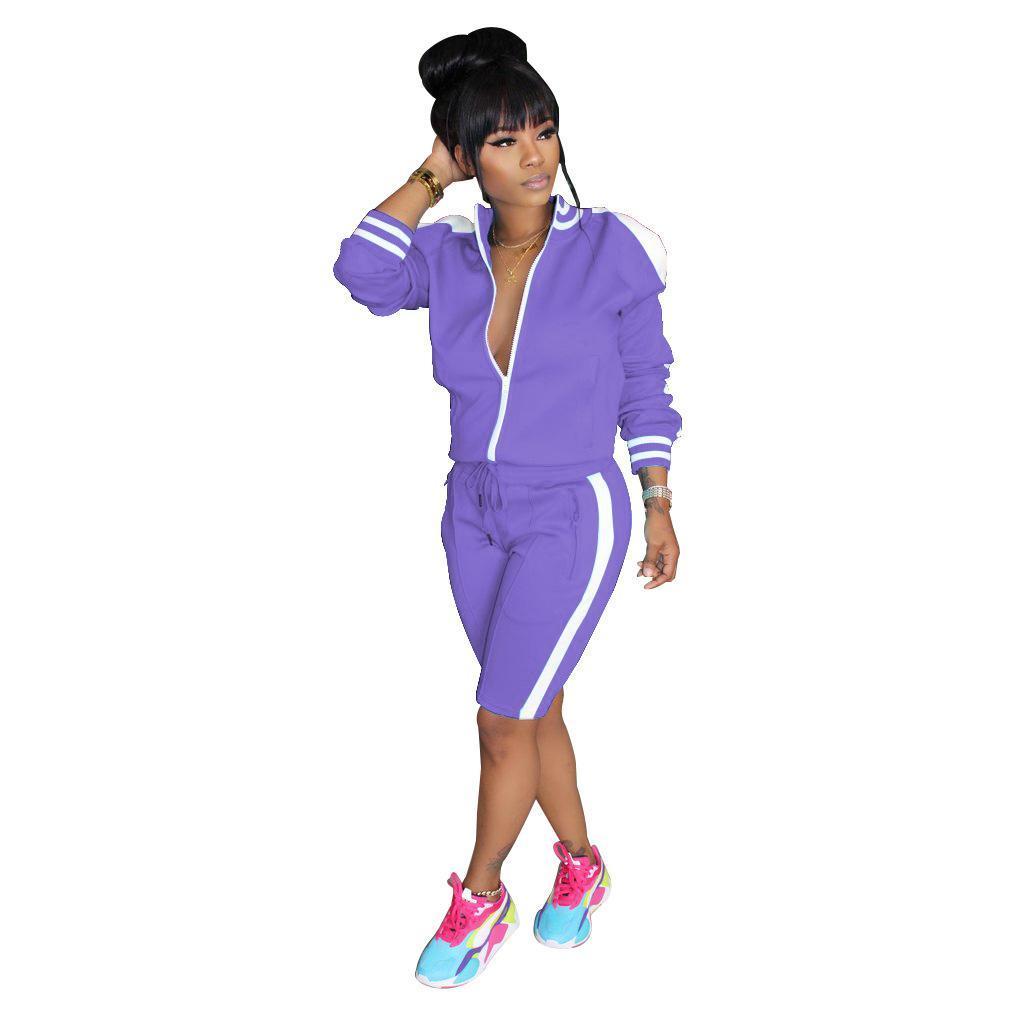 Listrado branco Splice Two Piece Set Treino para Mulheres Frente Zipper manga comprida Jacket Top joelho Jogger Pant roupa casual venda quente