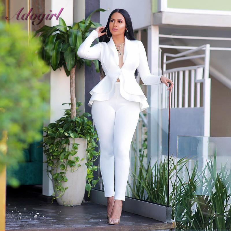 Women Blazer Two Piece Set Casual Full Sleeve V Neck Ruffles Blazers Jacket Coat Pencil Pants Winter Office Lady Business Suit T200817