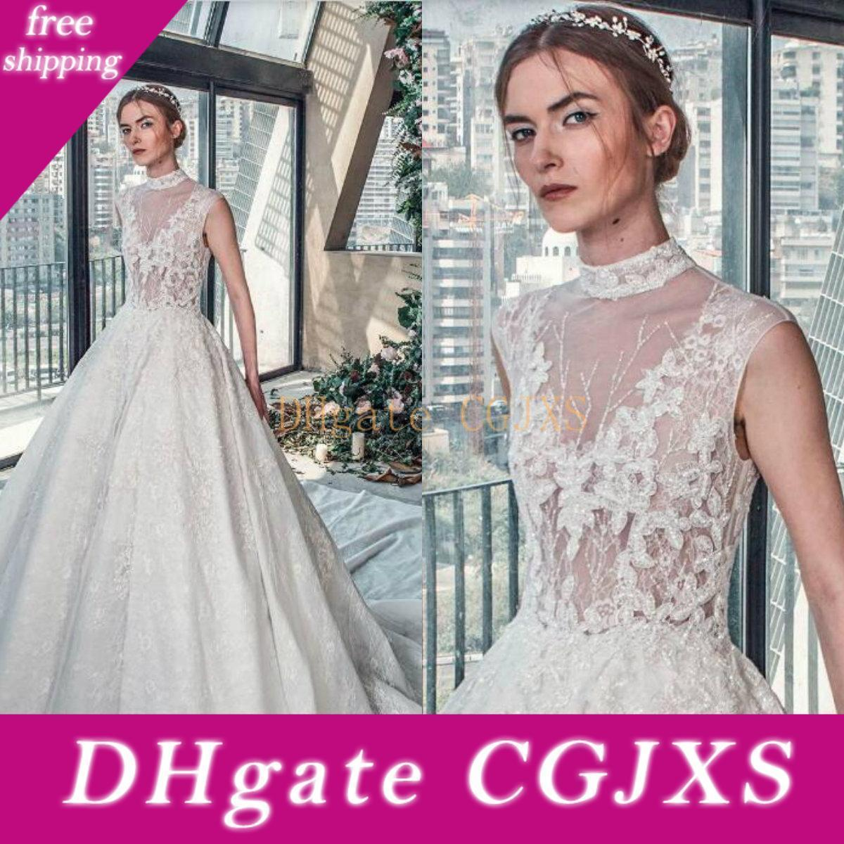 Tony Ward Spring 2019 Wedding Dresses Ivory High Collar Illusion Sleeveless Lace Applique Bridal Gowns High Quality