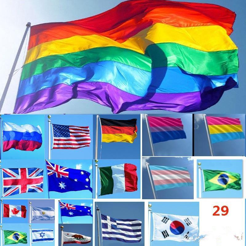 DHL Ship gratuit 3 * 90 * 150cm 5ft Drapeaux et bannières arc-Lesbienne Gay Pride Drapeau LGBT Polyester Drapeau coloré pour Décoration 26 Conception