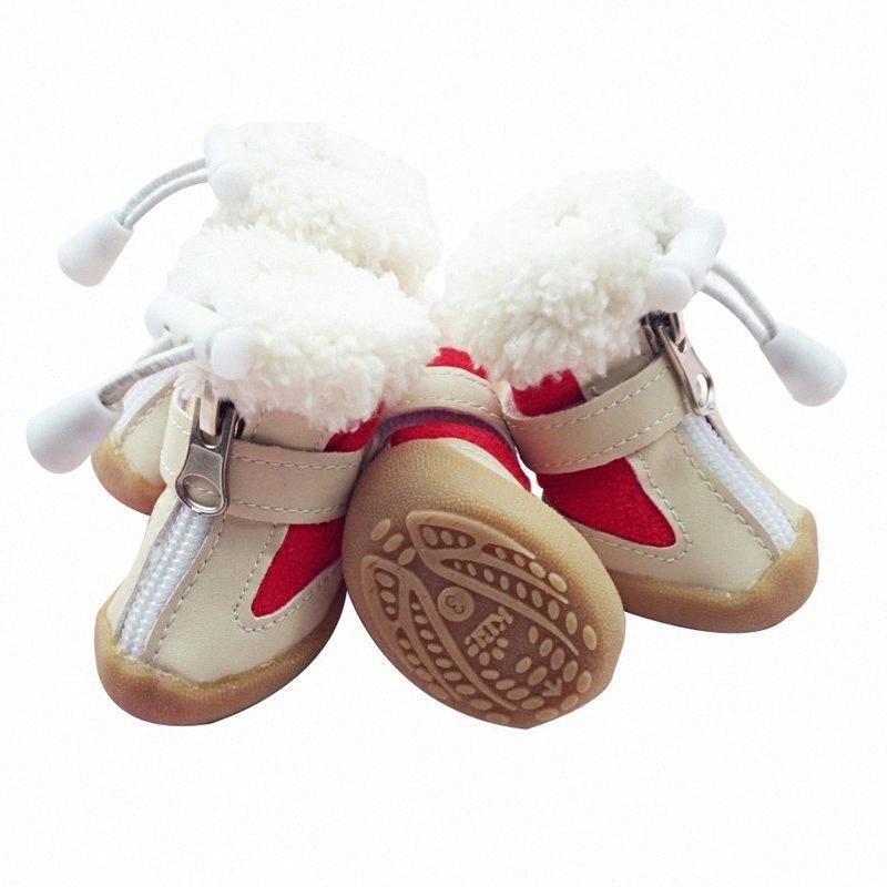 Scarpe cane inverno caldo neve stivali anti-slittamento pattini dell'animale domestico per i piccoli cani chihuahua Teddy cucciolo di gatto suole di scarpe 4pcs-antiscivolo / set KemI #