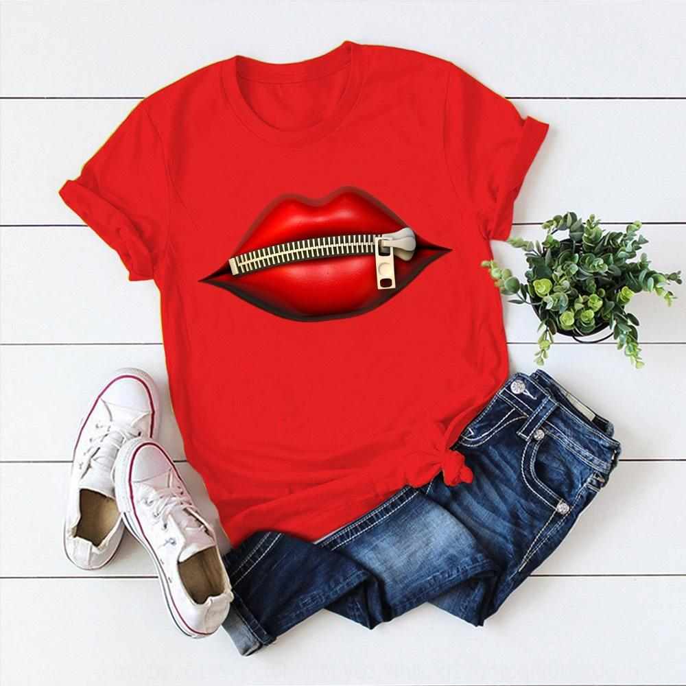 0W2qi cotton 2020 vestiti di cotone delle donne zraWd T-shirt T-shirt labbro stampa delle nuove donne di grandi dimensioni