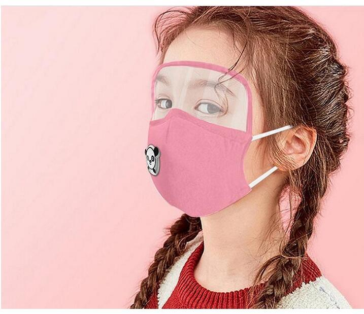 US STOCK-Kind-Kind-Baumwollgesichtsmaske mit Augenschild Atemventil PM2.5 Filter fachverwendbare waschbare Schutzstaubdichtes Baumwolle Masken