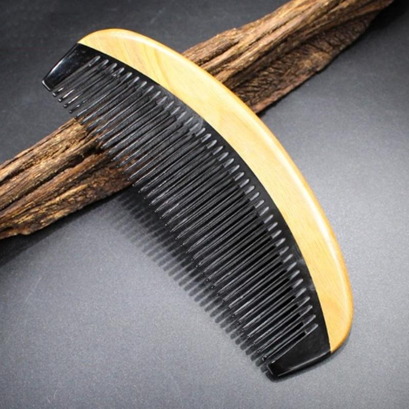 New Wood Hair Comb 10pcs/lot Sandalwood Ox Horn fine toothed hair care styling Beauty Makeup Women Detangling curly hair Men Beard Grooming