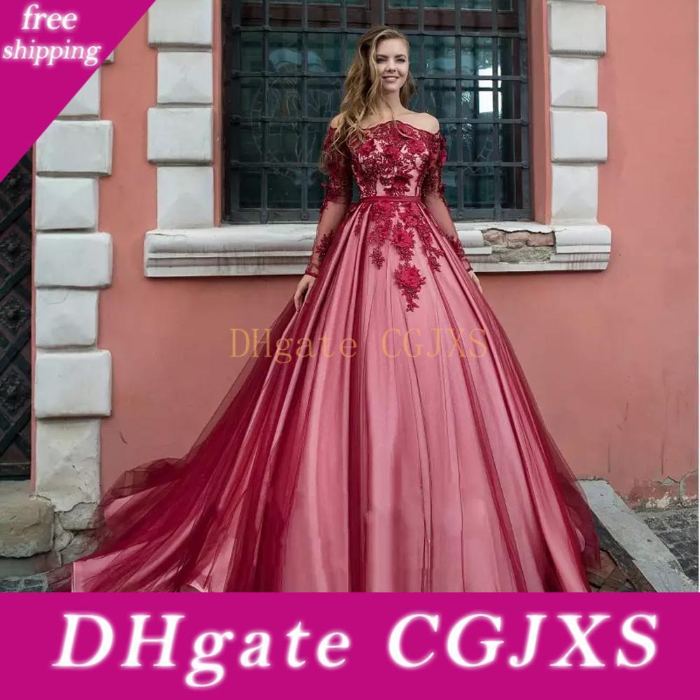 2019 Nouveau luxe Quinceanera épaules dentelle 3D Fleurs manches longues doux 16 dos ouvert Taille Plus Puffy Prom Robes de soirée Porter
