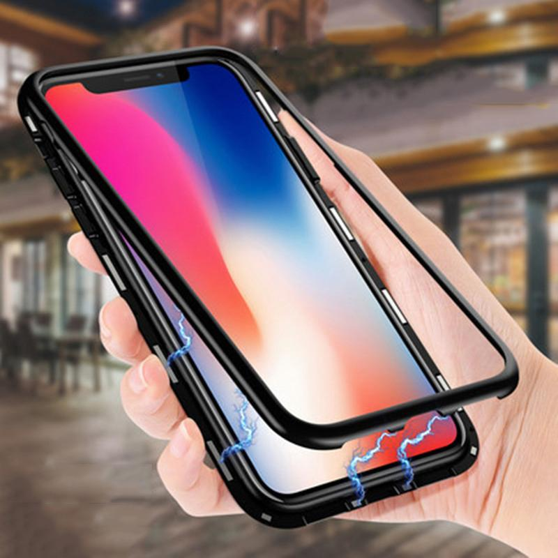 Magnetic adsorção do metal + vidro temperado Built-in iPhone Case Capa Para Magnet Painel Telefone 12 Pro Max 11 XS XR X 8 7 6 6S Além disso SE 2020