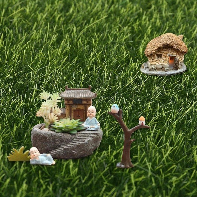 Düğün Yard Zemin Dekor S nDYd için # 6Pcs Yeşil Yapay Çim Çim Minyatür Bahçe Süs DIY Pot Peri Sahte Moss