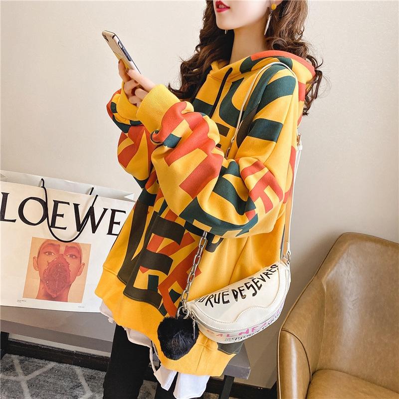 RmFFS Наружный одиночный бархат утолщенной свитер пальто свободный свитер с капюшоном осенью и зимой модный уличный стиль ленивый стиль женщин с длинным рукавом
