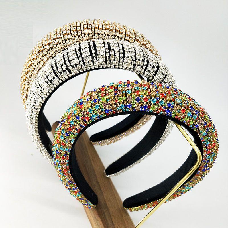 Cadena de cabeza colorida hecha a mano de la corona, Rhinestone tiaras y coronas, Cinta de cabeza, vendas para las mujeres del aro de pelo de la boda tocados de Y200807