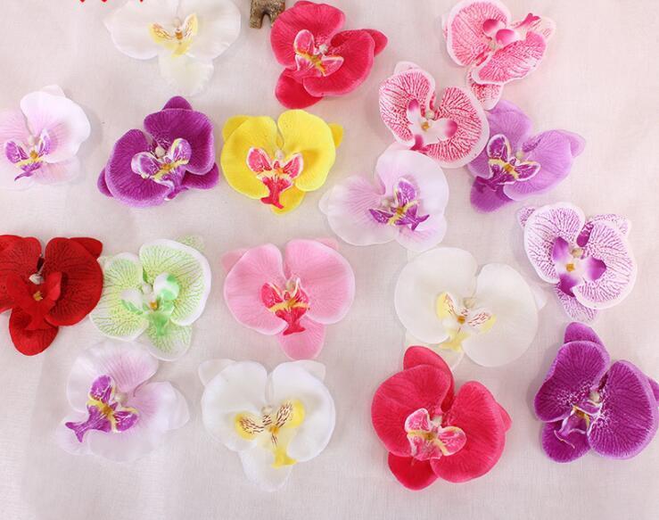 Fleur artificielle de haute qualité soie papillon Orchidée tête pour le mariage voiture Décoration bricolage Flores Cymbidium main GB572