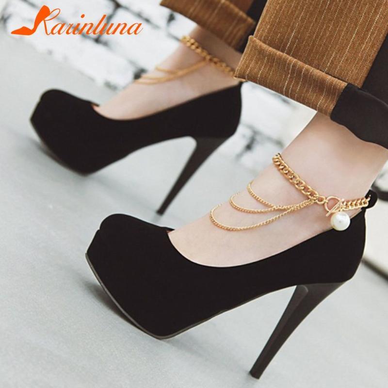 Yepyeni Büyük Boyutları 43 Zarif Seksi İnce Yüksek Topuklar Platformu Parti Düğün Bridalwoman Ayakkabı ayakkabı pompaları