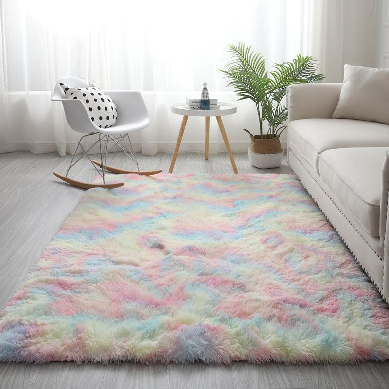 Il trasporto libero ultimo aggiornamento tappeto colorato Nordic salotto bianco tappeto tavolino camera da letto cuscino tappetino