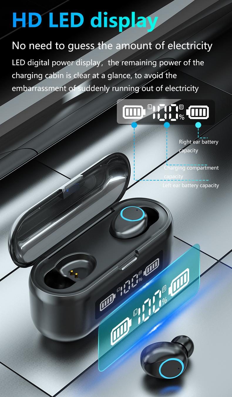 F9-46 Wireless LED Auriculares Bluetooth Auriculares V5.1 Auriculares TWS Prensa del deporte del control Auriculares de Cancelación de Ruido Earphone1 ..