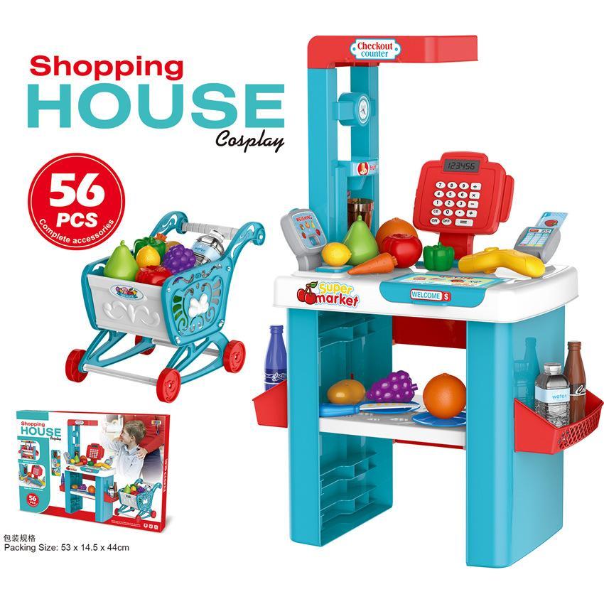 brinquedos para crianças de simulação de luxo supermercado quiosque Carro de compra combinação compras meninos e meninas cruz de supermercados casa