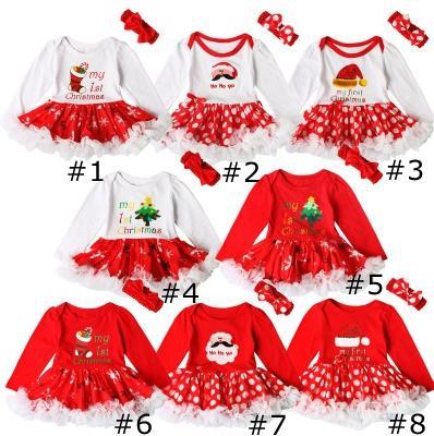 Noël dentelle Puffy deux pièces robe à manches longues manches filles barboteuses Tutu Santas Christmas Tree Socks Imprimé bébé Bubble Skir EEA1924