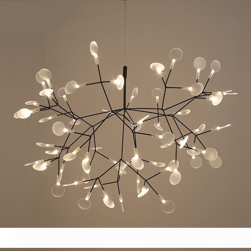 Современные Heracleum дерева Лист Подвеска Свет Светодиодные лампы Лампы Подвесной Гостиная Art Bar Iron Ресторан Домашнее освещение AL12