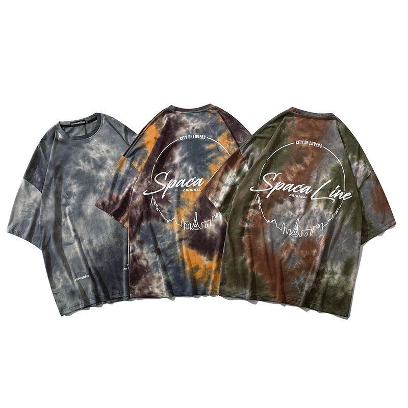 Hommes T-shirt Hip Hop Streetwear Vintage gris Tie Dye T-shirt à manches courtes d'été Harajuku T-shirt en coton T-shirts Tie Dye