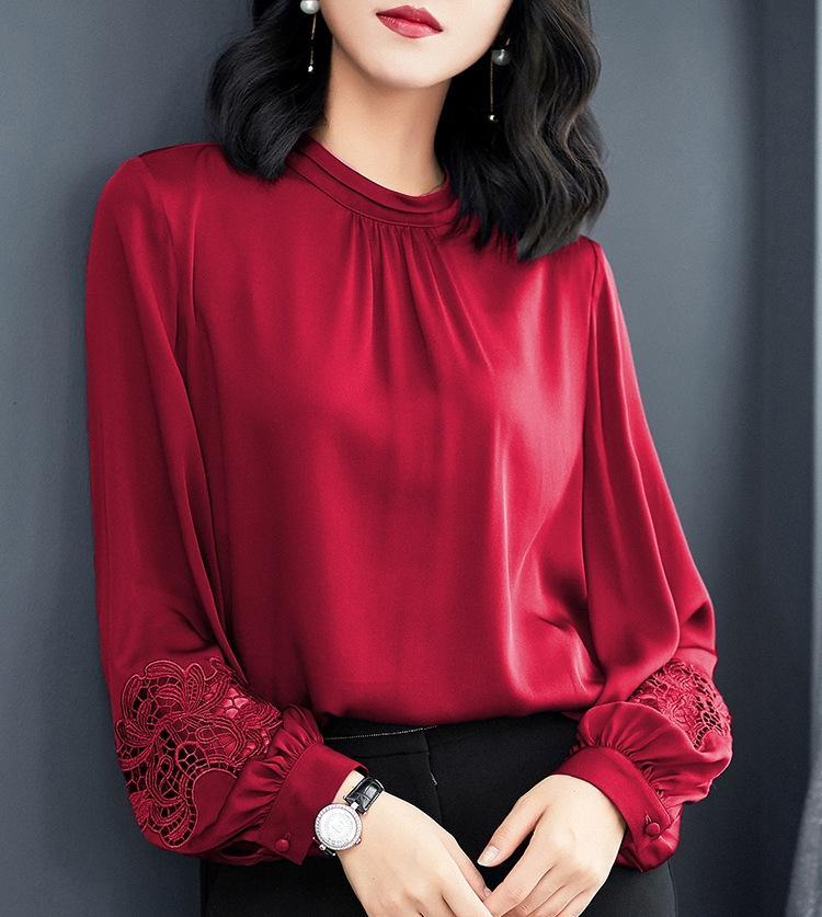 El otoño y el invierno de manga larga superior 2019 nuevo otoño de gran tamaño corto de la mora superiores de seda de la camisa de seda floja de las mujeres