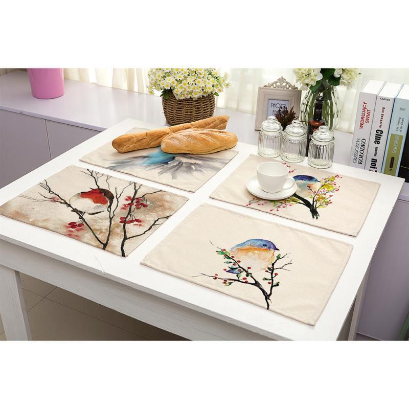 Lichi 42 * 32 cm Lavar Serie de la pintura Mantel Tabla Mat anti-escaldar cojín DIY Decoración de cocina Accesorios de mesa