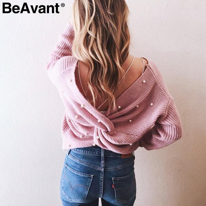 BeAvant V femmes pull en tricot perle perlant cou Casual pull d'hiver lâche 2018 froncé dos nu arc pull pull doux
