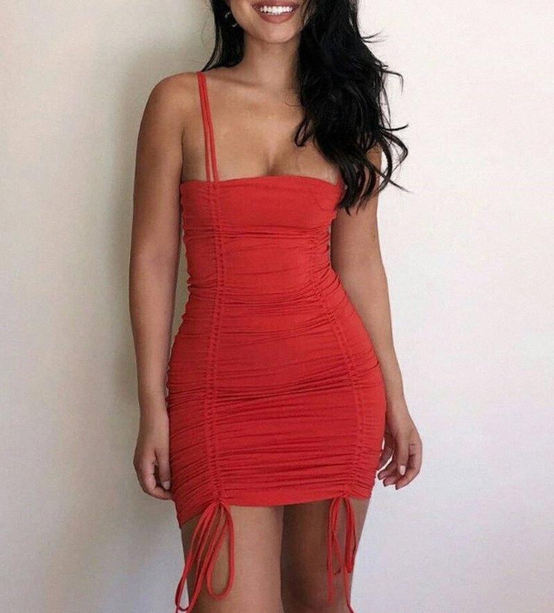 Designer estate sexy delle donne del mini vestito della bretella multicolore pieghe Low-cut donna gonna corta Designer Club vestito sottile 8501 4qUL #