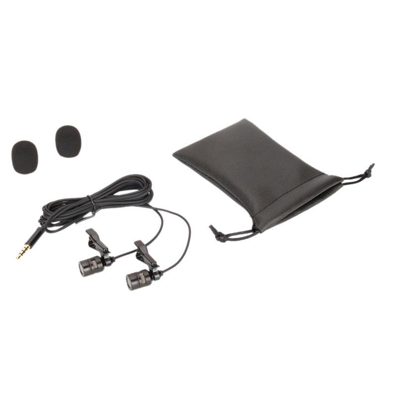 Профессиональный микрофон Dual-Head Lavalier Микрофон конденсаторный микрофон камеры Mic для Android DSLR Sony Nikon Camera