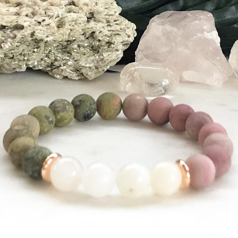 MG0853 8 MM Moonstone Bracelet Matte Unakite Rhodonite Energy Mala Bracelet Women`s Yoga Balance Protection Bracelet