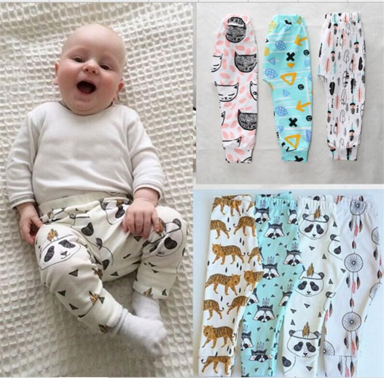 Leggings INS Autumn Kids PP Pants Baby Girls Boys Toddler Cotton Pants Casual Harem Pants Children Cartoon Animal Print Trousers E8604