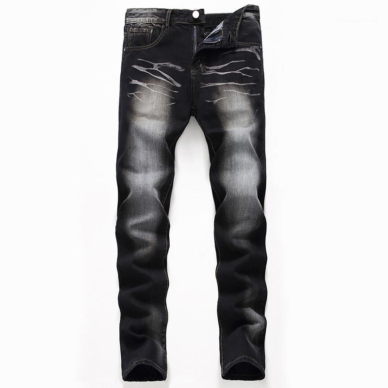 Günlük Düz Pantolon Fashhion Siyah Yıkanmış Erkek Kot Erkek Tasarımcı Fermuar Jeans