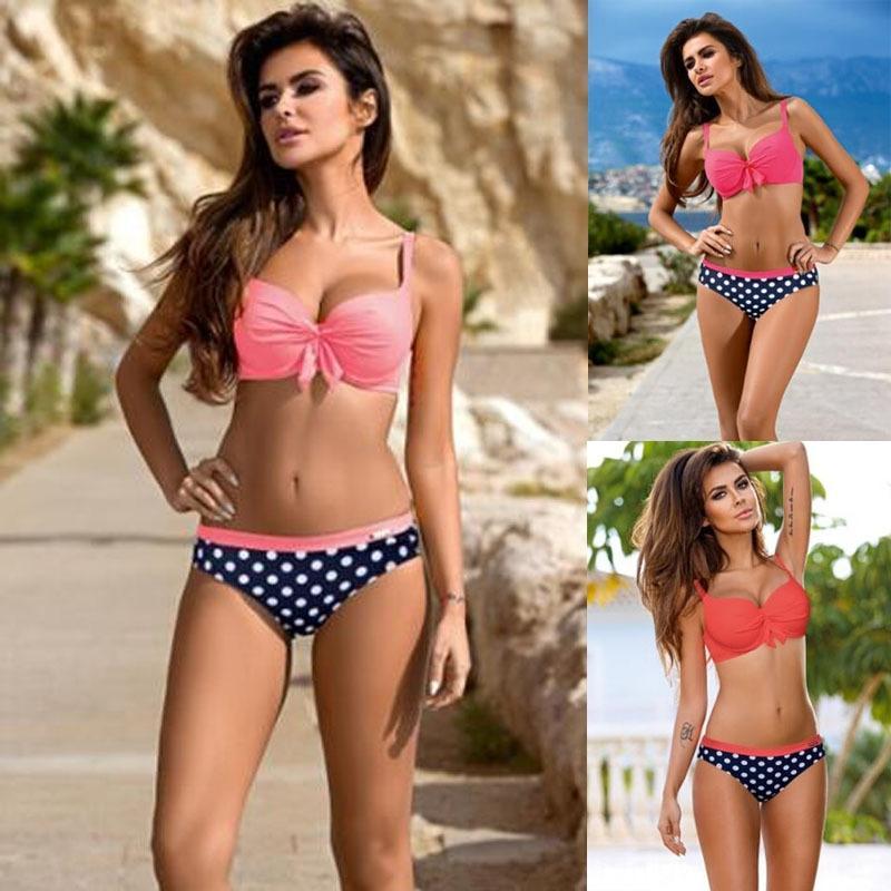 6UIV5 YANSHUO Yeni üçgen düz renk seksi bikini Bikini puantiyeli mayo şeker renk mayo