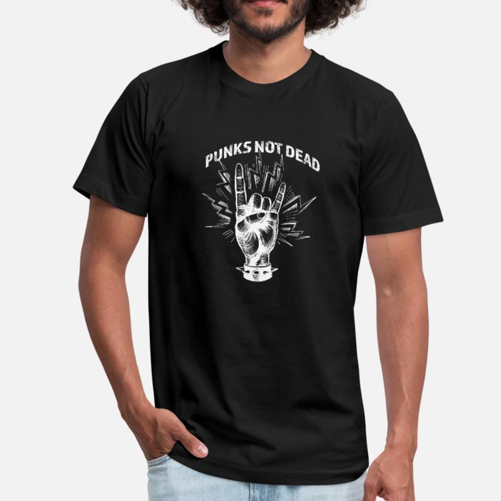 Rock Gesture I Punks Not Dead T-shirt des hommes d'impression coton O-Neck Gents en vrac Comical style d'été standard Chemise
