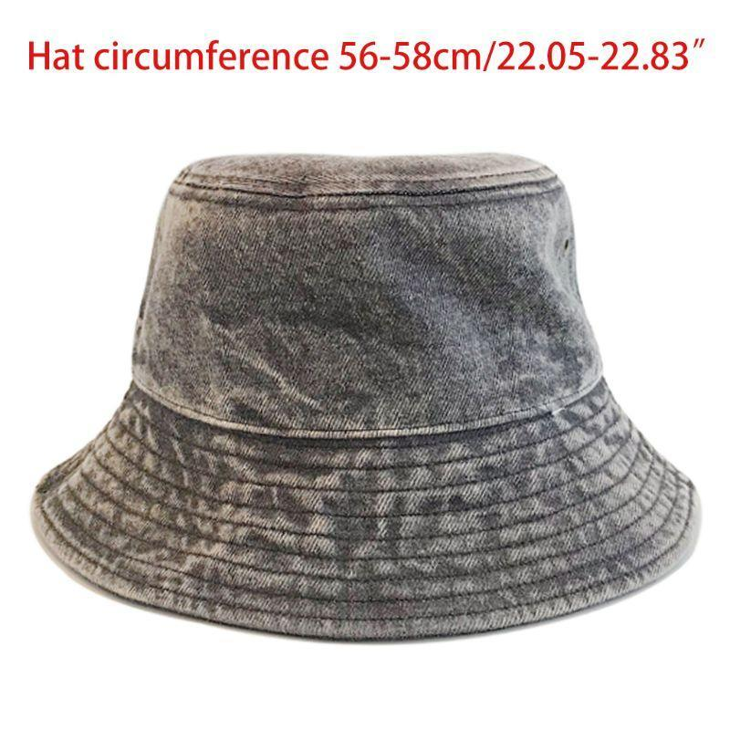 تغسل جديدة للجنسين خمر الدينيم القطن قبعة دلو المتناثرة على نطاق واسع بريم كاب الصياد