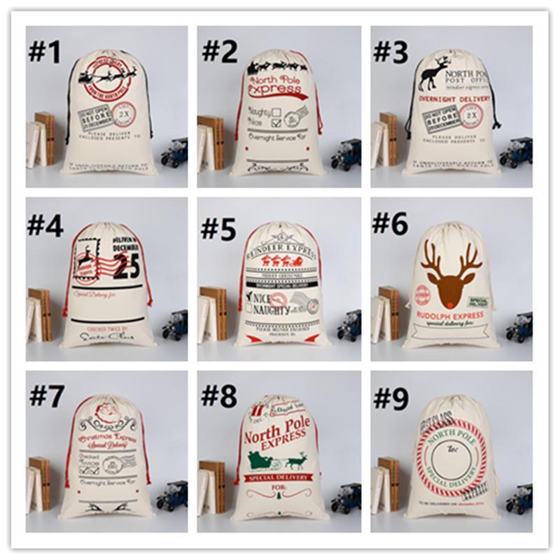 2020 Weihnachtsgeschenkbeutel Große Bio-schwere Leinwand Tasche Santa Sack Kordelzug Tasche mit Rentiers Santa Claus Sack-Taschen für Kinder JXW167
