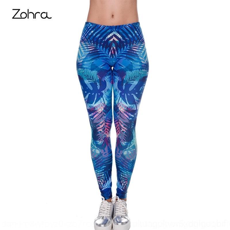 IOOhf de Zohra mujeres pantalones ajustados pantalones ajustados pantalones de la hoja impresa polainas digitales en 3D de las mujeres medias azules
