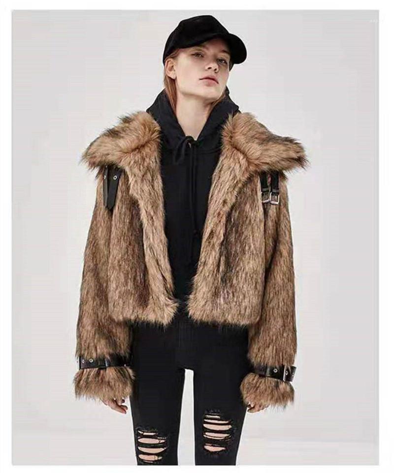 Co Дизайнер Теплого Solid Color Верхней одежда Женщина моды Тонкого Шинель Luxury женщины Мех