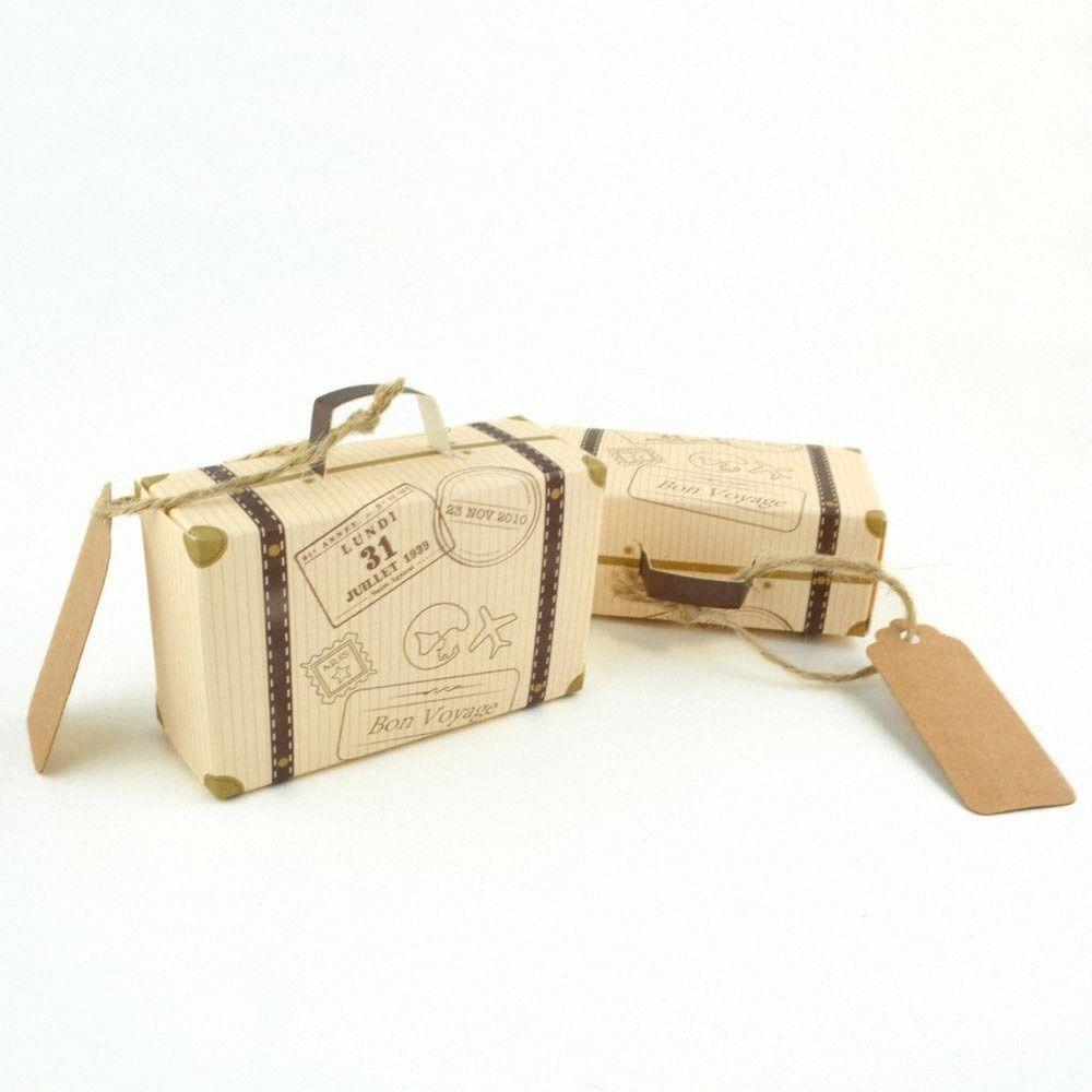 50Pcs / Lot Mini Valise boîtes en papier Kraft Candy Box avec corde Balises Faveur de mariage sacs-cadeaux Emballage # 9ugV Fournitures de fête
