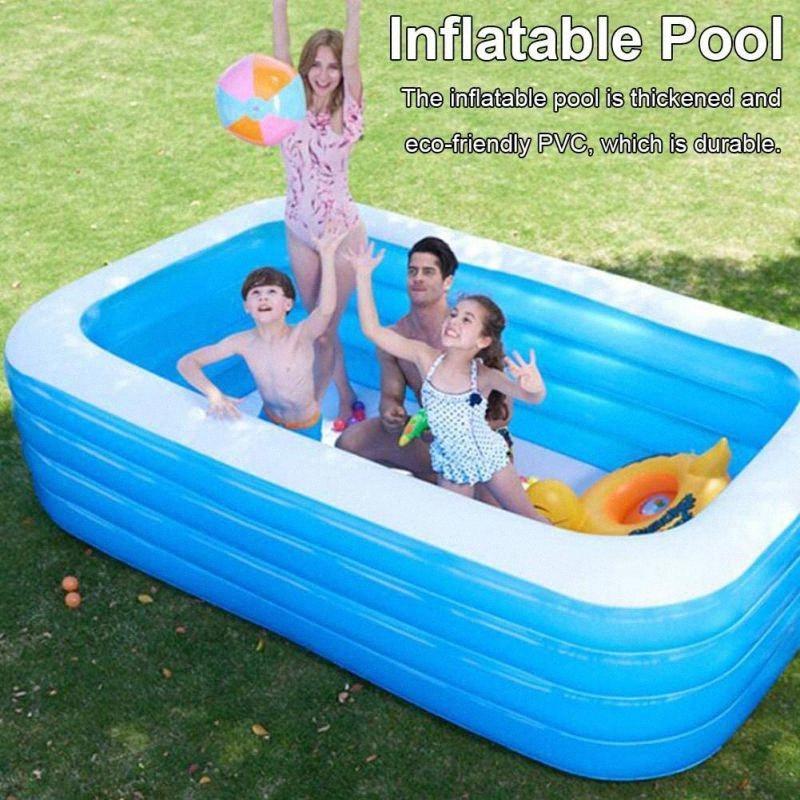 Надувной бассейн Взрослые Детские Детские Paddling игры квадратной формы Bubble Bottom Открытый Крытый плавательный POOLA F5yz #