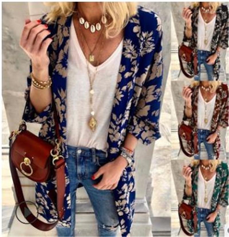Para mujer Camisa del diseñador de moda Escudo Cardigan impreso floral blusa larga de ropa informal femenina Dropshipping Verano Otoño