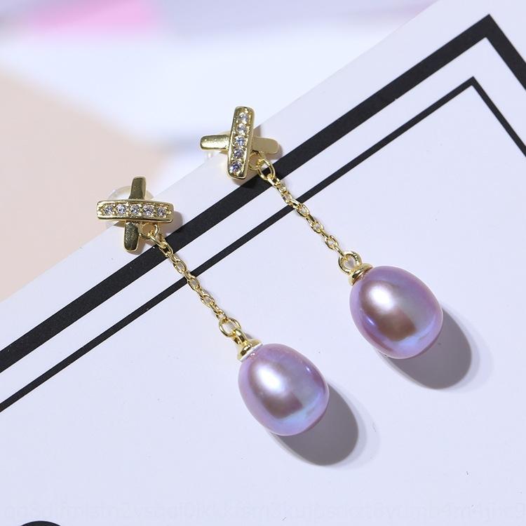 gioielli Earline orecchini di perle d'acqua dolce S925 argento X lungo Xinyun tutto-fiammifero eardrop eardrop eardrops semplici 7g9vx delle donne