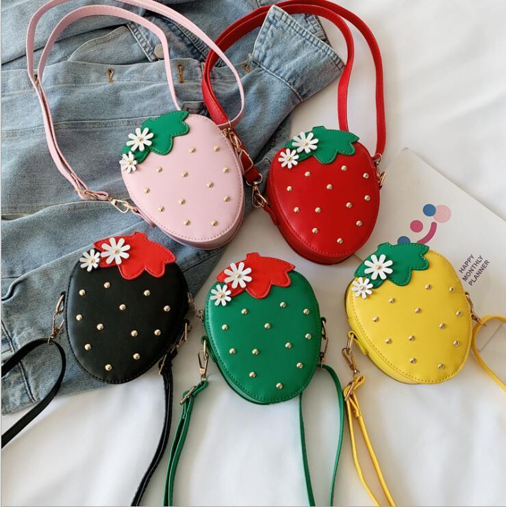 De las muchachas bolsa de mensajero de la manera de hombro bolsa de accesorios fresa bolsa con cremallera de los niños