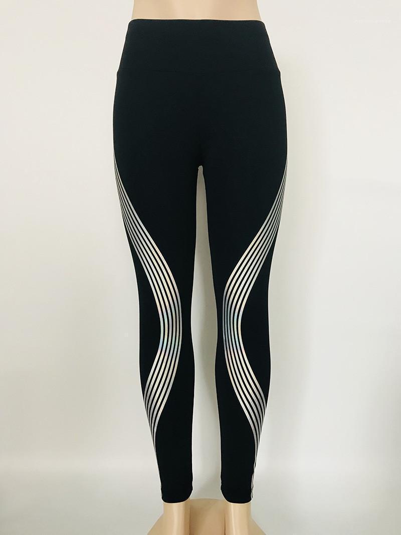 Sport-Art-Frauen Kleidung Frühlings-Sommer-Laser Reflective Damen Leggings Solid Color mittlere Taillen-Yoga-Hosen