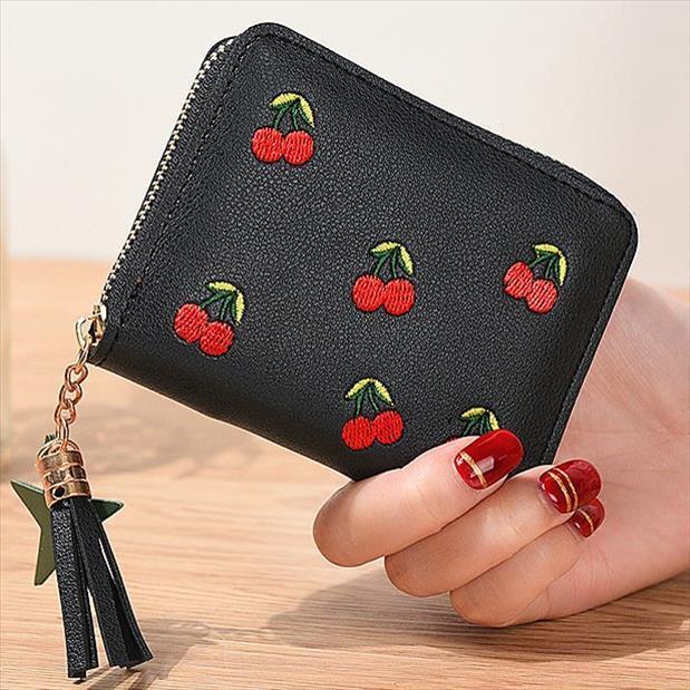 Cherry embrague bolsillo mujer cremallera corta dama tarjetas moneda monedero niñas mujer carteras titular de borla bolsas billetera Bolsas Bolsas encantadoras aikhs