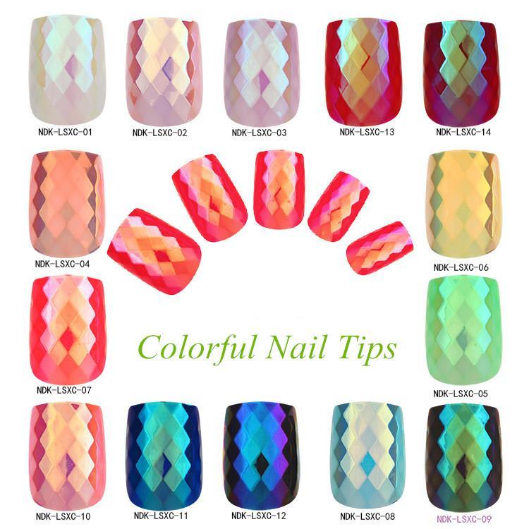 Falsas unhas 24 pcs Falso Rhomm Quadrado Médio Comprimento Dicas de Prego Dicas Artificial Art Finger Salon