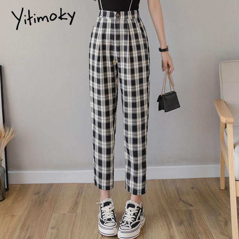 kareli pantolon pamuk ve keten elastik bel pantolon kadın streetwear yaz kadın CX200807 yüksek bel beden harem Pantolon dama tahtası