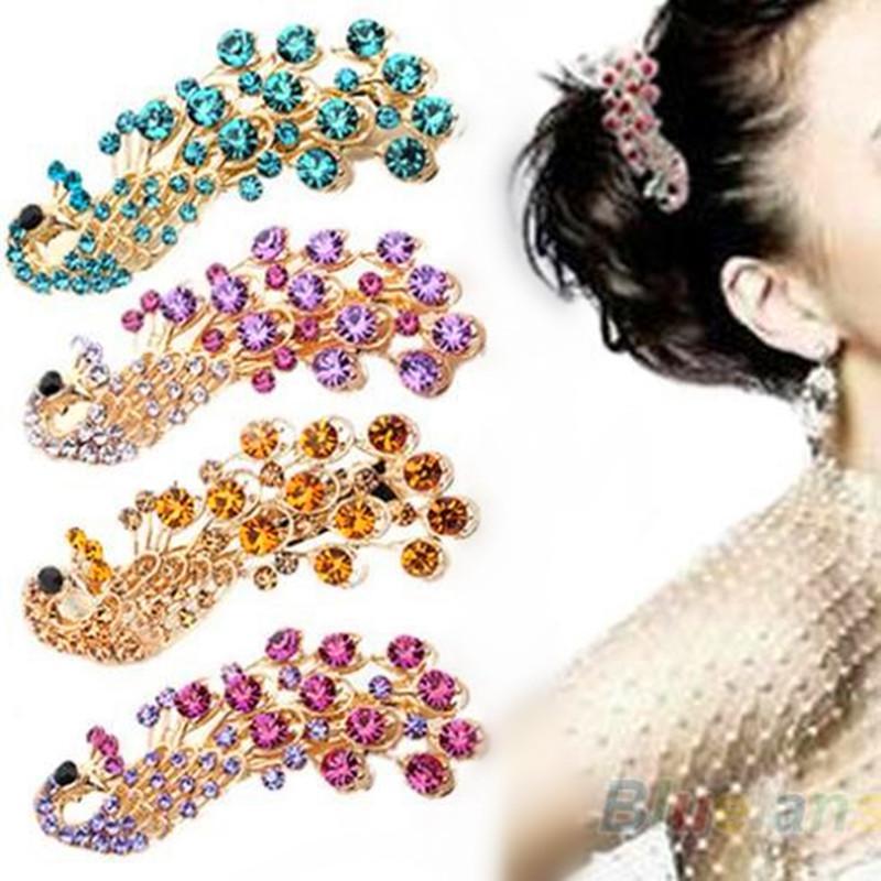 2020 Hot Selling Fashion Peacock Full Crystal Rhinestones Hairpin Hair Clip Headwear Barrettes for Women